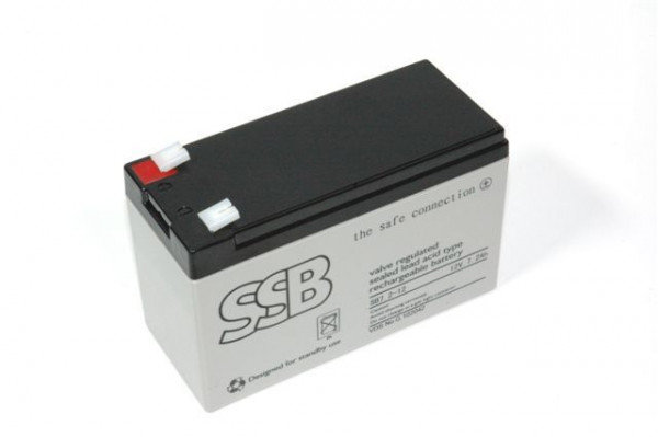 Akku SSB, 12V, 7, 2AH, mit Adapter von 6, 3 auf 4, 8mm