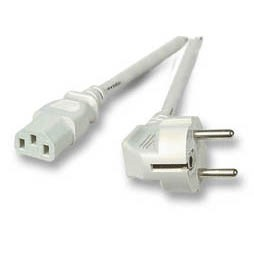 Netzkabel 230V Schutzkontakt CEE7(Stecker)->Kaltgeräte IEC-C13(Buchse), 3m, Grau