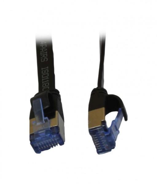 Patchkabel RJ45, CAT6A 500Mhz, 0.25m, schwarz, U/FTP, flach, AWG32, Synergy 21