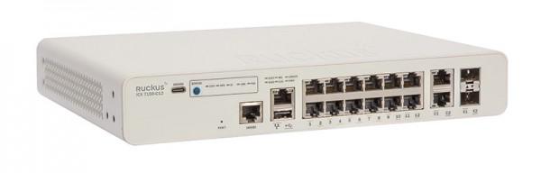 Ruckus Networks ICX 7150 Compact Switch 12x 10/100/1000 PoE+ ports, 2x 1G RJ45 uplink-ports, 2x 10G SFP, 124W PoE
