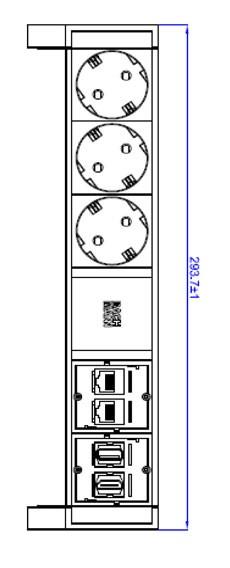 Bachmann Desk2 Steckdosenleiste, 3xDosen(CEE7)/2xCAT6/1xHDMI/1xUSB mit Zuleitung GST18, Farbe Inox