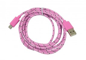 Patchkabel USB2.0, 1m, A(St)/MicroB(St), textil/pink, Synergy 21,