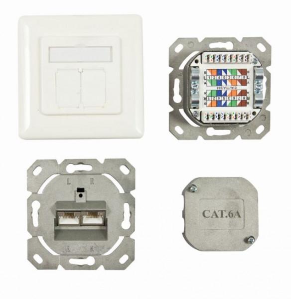 Dosen TP, UP, 2-fach, CAT6A, 500Mhz, Reinweiss, Synergy 21, waagrechter hinterer Kabeleingang