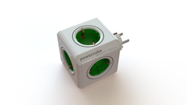 Allocacoc Powercube, Original with rib, 5xDosen(CEE7)->Stecker(CEE7), weiss/Grün,