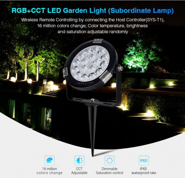 Synergy 21 LED Subordinate Garten Lampe 9W RGB+CCT mit Funk und WLAN IP65 24V *Milight/Miboxer*