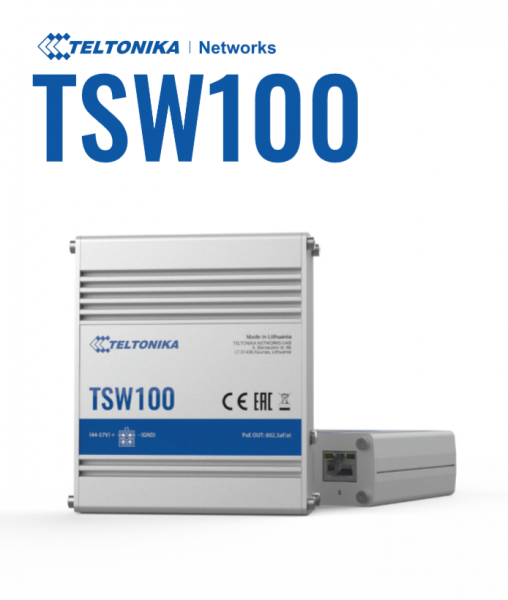 Teltonika · Switch · TSW100 · 5 Port Gigabit Industrial unmanaged POE Switch
