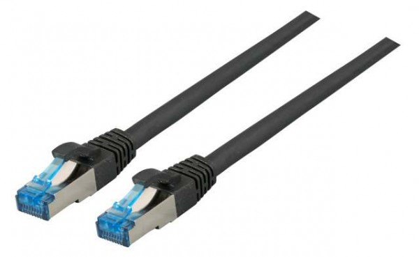 Patchkabel RJ45, CAT6A 500Mhz, 2m, schwarz, S-STP(S/FTP), TPE(Superflex), mit Cat.7 Rohkabel,