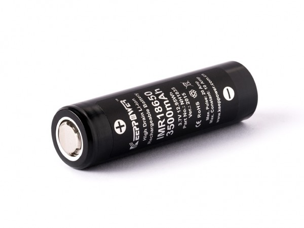 Synergy 21 Akku 18650 Keeppower IMR18650/Panasonic NCR18650GA 3,6V - 3,7V 3500mAh Li-Ionen/Battery Akku *ALLTRAVEL* +Gelabelt/Retail+ 2er Pack
