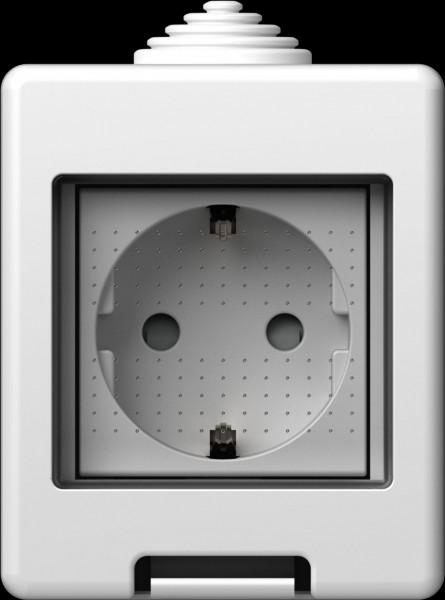 TEM Serie Modul Aufputzgehäuse IP55 BOX CUBO 2M Schutzkontak
