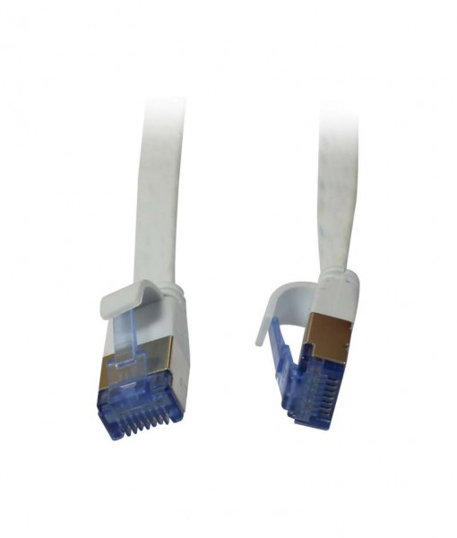 Patchkabel RJ45, CAT6A 500Mhz, 0.25m, weiss, U/FTP, flach, AWG32, Synergy 21