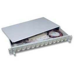 "LWL-Patchpanel Spleisbox,19"",24xLC-Duplex, 9/125um, OS2, ausziehbar, Pigtails abgesetzt"