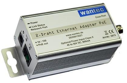 115475 - Wantec 2wIP 2-Draht BNC Adapter PoE 90 Mbits | PoE over 2 ...