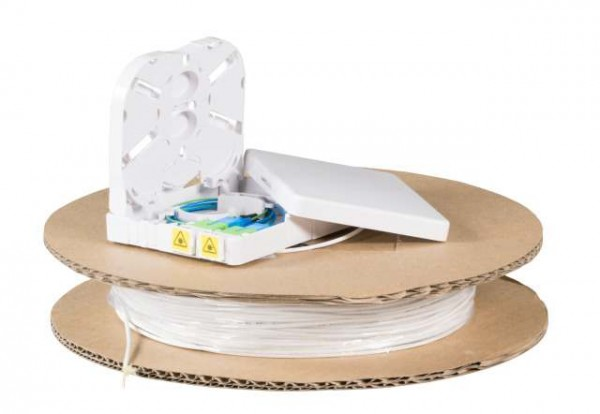 LWL-Compact Box vorkonfektioniert, FTTX, 2xSC/APC(simpex) open End,120m, 9/125u, G.657.A2,