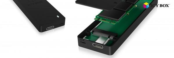 ICY Box Gehäuse, M.2 SATA SSD-> USB 3.0 Type-C, mit Schreibschutz, IB-1815WP-C31,