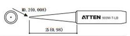 ATTEN T900-LB / Ersatzlötspitze 0,2mm spitz 25mm lang