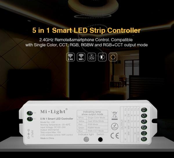 Synergy 21 LED Strip/Panel RGB-WW (RGB-CCT) DC12/24V Controller 5in1*MiLight*