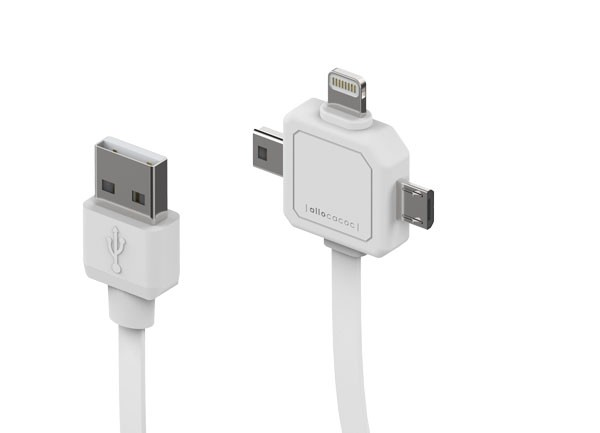 Allocacoc Power USB Cable, USB A - micro USB/mini USB/lightning, 0, 8m,