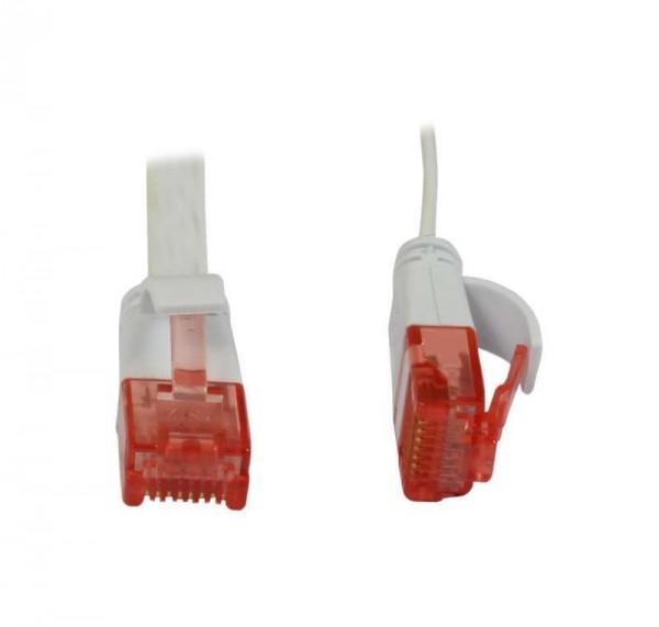 Patchkabel RJ45 UTP(U/UTP). 1.0m weiss, CAT6, PVC, Flach, S