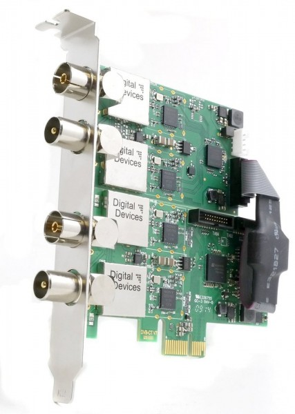 Digital Devices 4 Tuner Set (Cine C/C2/T/T2 (V7) TV Card, PCIe , Slotblech K & DuoFlex C/C2/T/T2 Tuner Erweiterung)