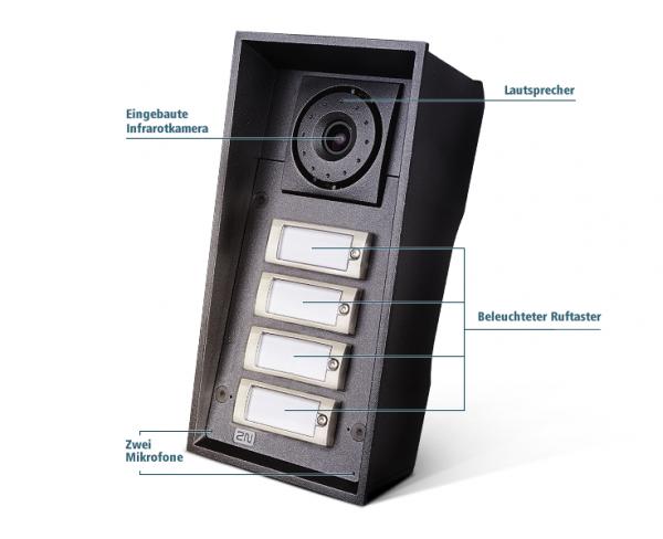 2N Gegensprechanlage EntryCom IP Force - 4 Ruftasten mit Kamer und 10W Lautsprecher