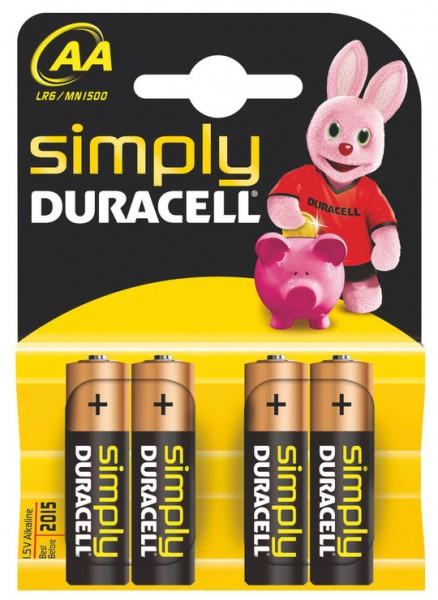 Batterien Mignon AA 1,5V *Duracell* Simply - 4er Pack