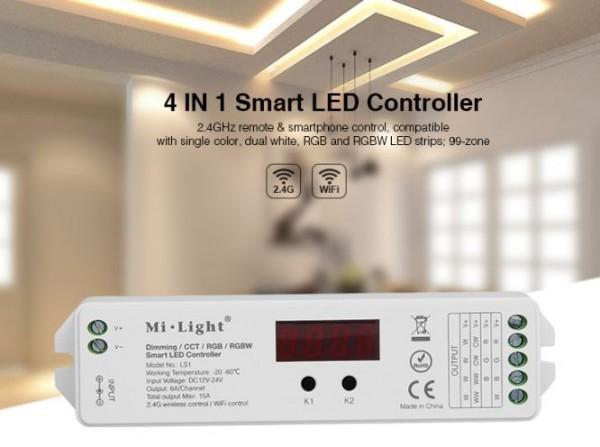 Synergy 21 LED Controller RGB-WW (RGB-CCT) DC12/24V Strip/Panel 99 Zonen 4in1*Milight/Miboxer*