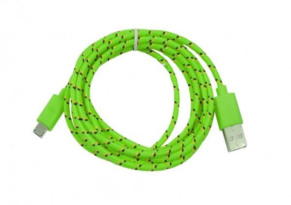 Kabel USB2.0, 1m, A(St)/MicroB(St), textil/grün, Synergy 21,