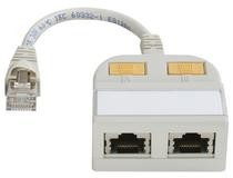 Telegärtner T-Adapter, CAT5E, RJ45->10/100 2x, geschirmt