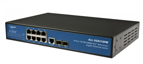 "ALLNET Switch smart managed 8 Port Gigabit 150W / 8x PoE+ / 2x SFP / Lüfterlos / 19"" / ""ALL-SG8310PM"""