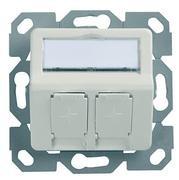 Telegärtner Modulträger, UP-Dose, f. 2xAMJ/AMJ-S-Mod./Kupp.,AW, 30Grad, 50x50 design, ohne Rahmen, (Keystone)