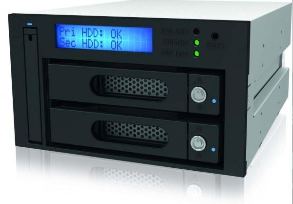 """ICY Box Gehäuse, ext.SATA 3,5"""" 2x / SATA III 6 Gbit/s oder RS232 Raid, Black, IB-iR2623-S3b"""