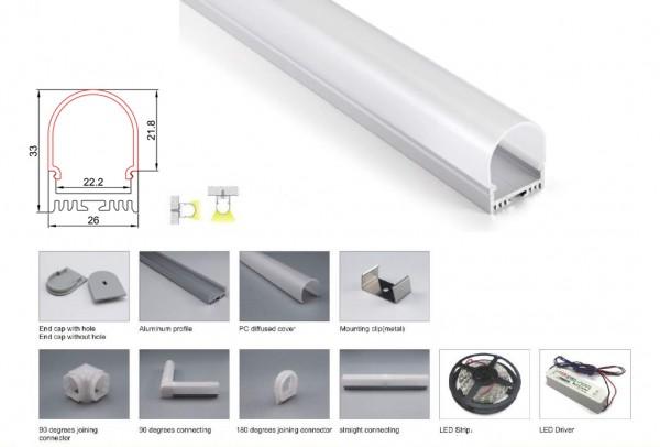 Synergy 21 LED U-Profil 200cm, ALU044-PC