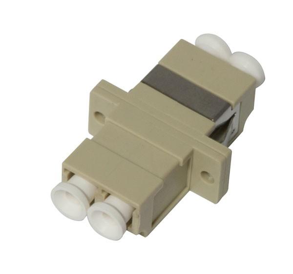 LWL-Kupplung, LC-Buchse/LC-Buchse, 50/125u Multimode, duplex, PVC, Keramikhülse, OM2, mit Flansch, Synergy 21