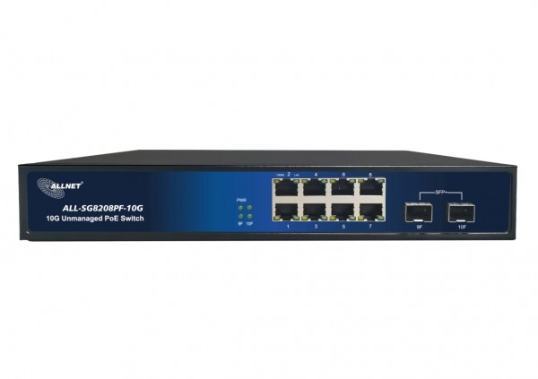 "ALLNET Switch unmanaged 8 Port Gigabit 150W / 8x PoE+ / 2 x SFP+ / Lüfterlos / 19"" ALL-SG8208PF-10G"