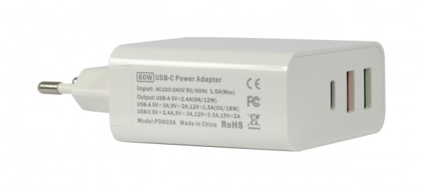 ALLNET Ersatznetzteil QC USB-C PD Netzteil Power Supply60Watt 2x USB Typ-A, 1x USB Typ-C**EU PLUG**