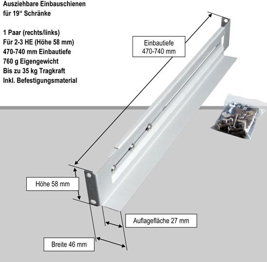 """Effekta zbh.Gleitschienen für 19"""" Schrank, 470-740mm veränderbar, bis zu 35Kg"""