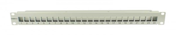 "Patch Panel 24xTP, CAT6A, incl.Keystone Slim-line(mit Staubschutzklappe), 19"", 1HE(t 91mm), Lichtgrau, Synergy 21,"