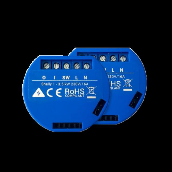 Shelly · Relais · 1 Wi-Fi WLAN Schaltaktor 16A (Doppelpack)