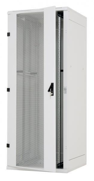 "Triton 19""Schrank 18HE, B800/T1000, Lichtgrau, perf. 1-teilige Front-/Rück-Türen,"