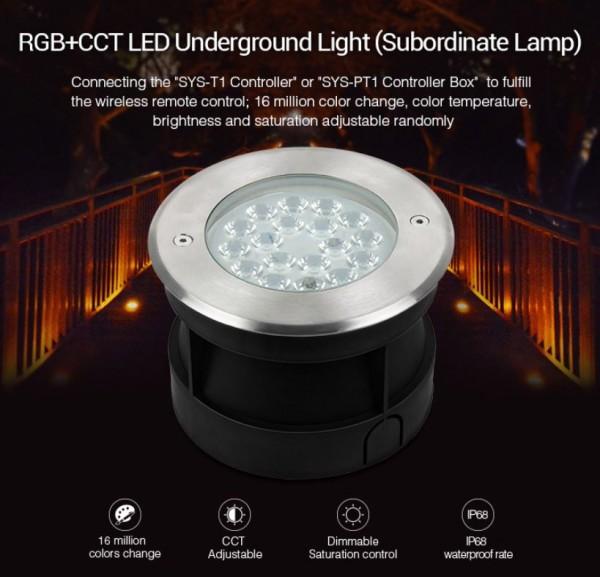 Synergy 21 LED Subordinate Bodeneinbaustrahler 9W RGB+CCT mit Funk und WLAN *Milight/Miboxer*