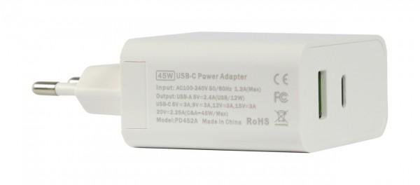 ALLNET Ersatznetzteil QC USB-C PD Netzteil Power Supply45Watt 1x USB Typ-A, 1x USB Typ-C**EU PLUG**