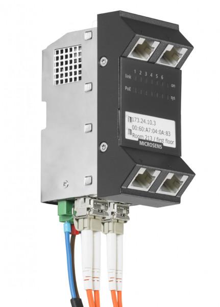 Microsens Installationswitch GBE 6 Port, vert.. Einbau, 4xRJ45, 2xSFP, PoE+, MS440217PM-48G6