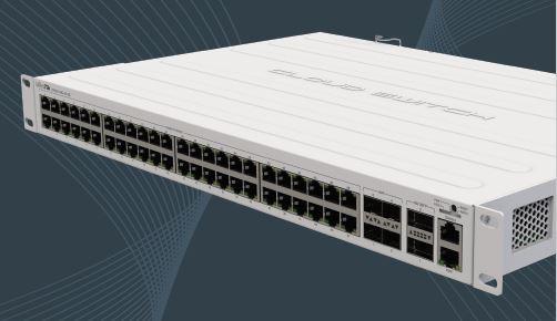 MikroTik Cloud Router Switch CRS354-48P-4S+2Q+RM, 48x Gigabit RJ45 POE, 4x SFP+ 10G, 2x QSFP+ 40G, 750W Rackmount