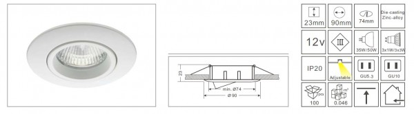 Synergy 21 LED Retrofit GU10 / GX5, 3 Deckeneinbausatz D09-silber