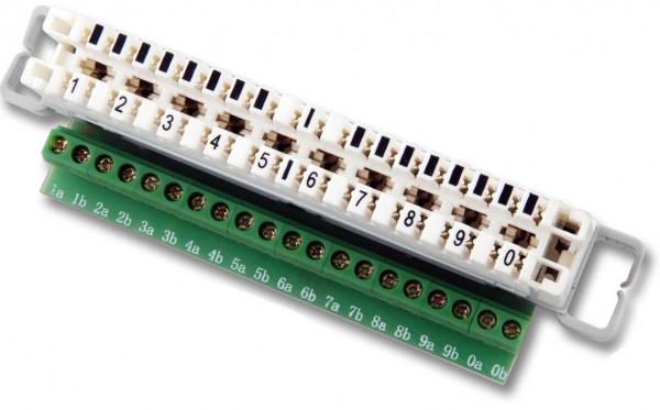 LSA+ TK LSA-Anschlussleiste 2/10 zu 10 DA, mit 20Schraubkon