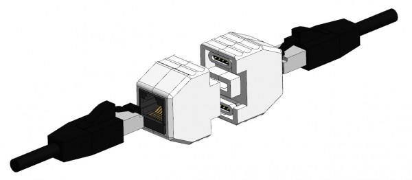 ALLNET RJ45 Sicherungskupplung, Abwurfbuchse, PoE fähig, bis zu 10GBit 3D Gehäuse