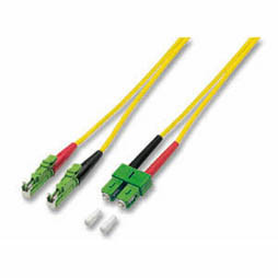 LWL-2-Faser-Patchk. 2mtr.E2000(APC8Grad)/SC(APC8Grad), 9/1m