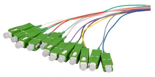 LWL-Pigtail-SC(APC) 9/125u,2mtr. OS2, 12-Pack, farbig