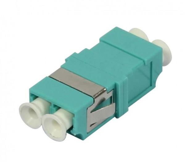 LWL-Kupplung, LC-Buchse/LC-Buchse, 50/125u Multimode OM3, aqua, duplex, PVC, ohne Flansch, Synergy 21,