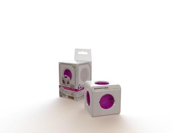 Allocacoc Powercube, ReWirable [DE], 5xDosen(CEE7)->Kaltgeräte Stecker(C14), weiss/lila, incl 3x Plugs+IEC Kabel